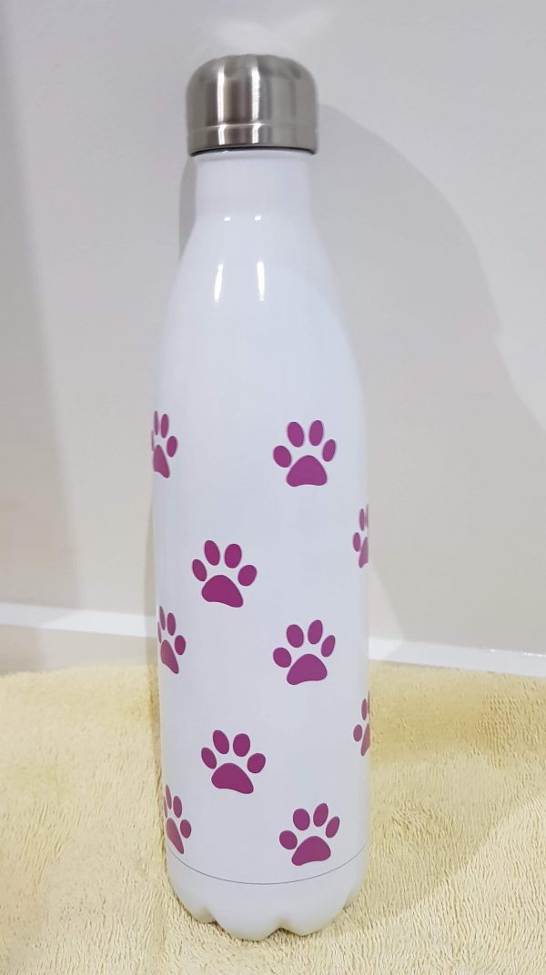 White Bottle with Pink Pawprint